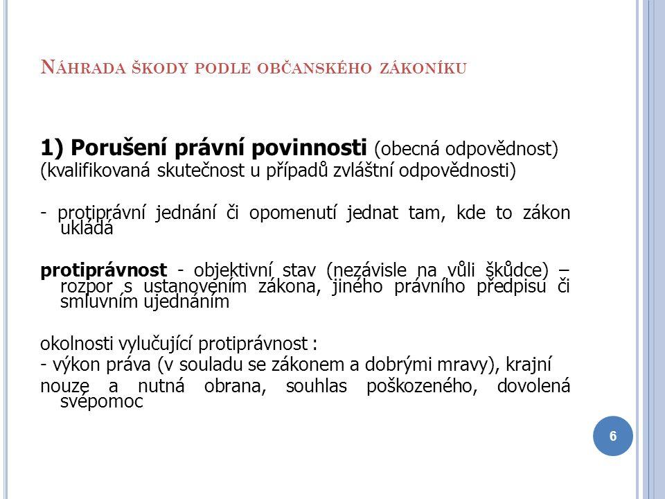 N ÁHRADA ŠKODY PODLE OBČANSKÉHO ZÁKONÍKU 1) Porušení právní povinnosti (obecná odpovědnost) (kvalifikovaná skutečnost u případů zvláštní odpovědnosti)