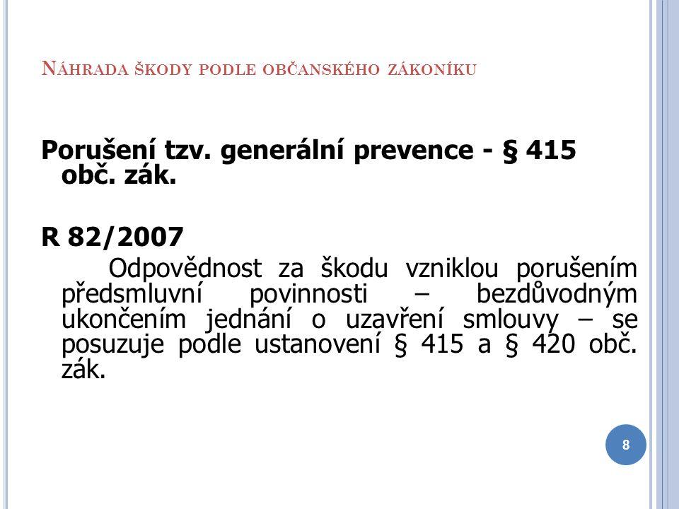 N ÁHRADA ŠKODY PODLE OBČANSKÉHO ZÁKONÍKU Porušení tzv. generální prevence - § 415 obč. zák. R 82/2007 Odpovědnost za škodu vzniklou porušením předsmlu
