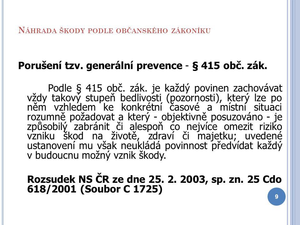 N ÁHRADA ŠKODY PODLE OBČANSKÉHO ZÁKONÍKU Porušení tzv. generální prevence - § 415 obč. zák. Podle § 415 obč. zák. je každý povinen zachovávat vždy tak