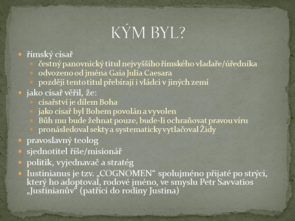 v Konstantinopoli 67 mužských klášterů, vedle nich řada klášterů ženských počet těchto institucí neustále stoupal a jejich význam rostl zakládáním nemocnic, chudobinců, sirotčinců a starobinců při klášterech CÍSAŘ JUSTINIÁN O MNIŠSKÉM ŽIVOTU: Mnišský život a mnišská kontemplace je záležitost posvátná přivádějící okamžitě duše k Bohu.