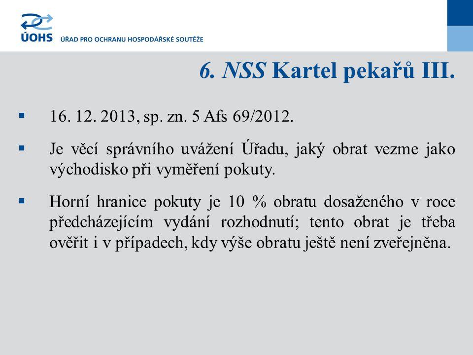 6. NSS Kartel pekařů III.  16. 12. 2013, sp. zn. 5 Afs 69/2012.  Je věcí správního uvážení Úřadu, jaký obrat vezme jako východisko při vyměření poku