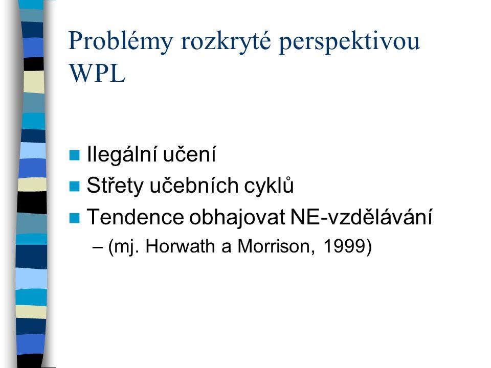 Problémy rozkryté perspektivou WPL Ilegální učení Střety učebních cyklů Tendence obhajovat NE-vzdělávání –(mj. Horwath a Morrison, 1999)