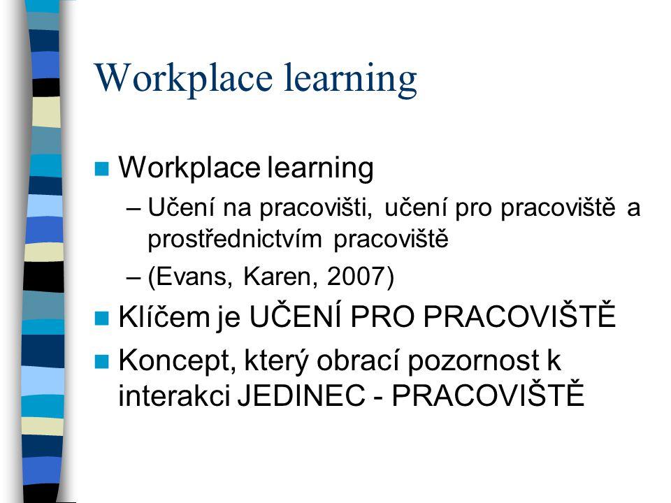 Workplace learning –Učení na pracovišti, učení pro pracoviště a prostřednictvím pracoviště –(Evans, Karen, 2007) Klíčem je UČENÍ PRO PRACOVIŠTĚ Koncep