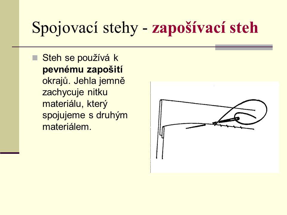 Spojovací stehy - zapošívací steh Steh se používá k pevnému zapošití okrajů. Jehla jemně zachycuje nitku materiálu, který spojujeme s druhým materiále