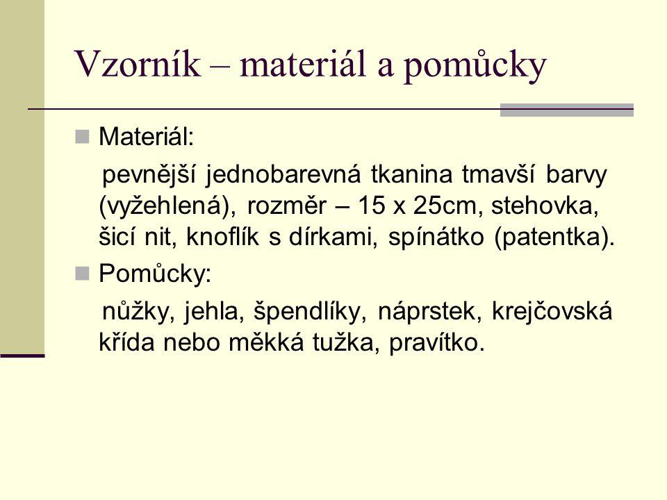 Vzorník – materiál a pomůcky Materiál: pevnější jednobarevná tkanina tmavší barvy (vyžehlená), rozměr – 15 x 25cm, stehovka, šicí nit, knoflík s dírka