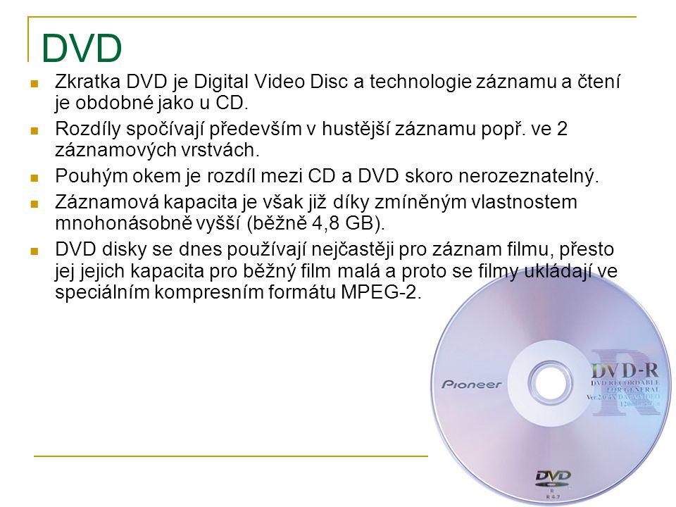 DVD Zkratka DVD je Digital Video Disc a technologie záznamu a čtení je obdobné jako u CD.
