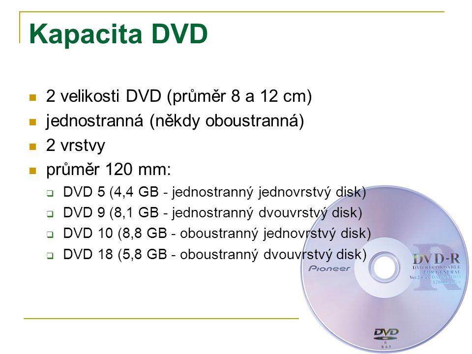 Kapacita DVD 2 velikosti DVD (průměr 8 a 12 cm) jednostranná (někdy oboustranná) 2 vrstvy průměr 120 mm:  DVD 5 (4,4 GB - jednostranný jednovrstvý disk)  DVD 9 (8,1 GB - jednostranný dvouvrstvý disk)  DVD 10 (8,8 GB - oboustranný jednovrstvý disk)  DVD 18 (5,8 GB - oboustranný dvouvrstvý disk)