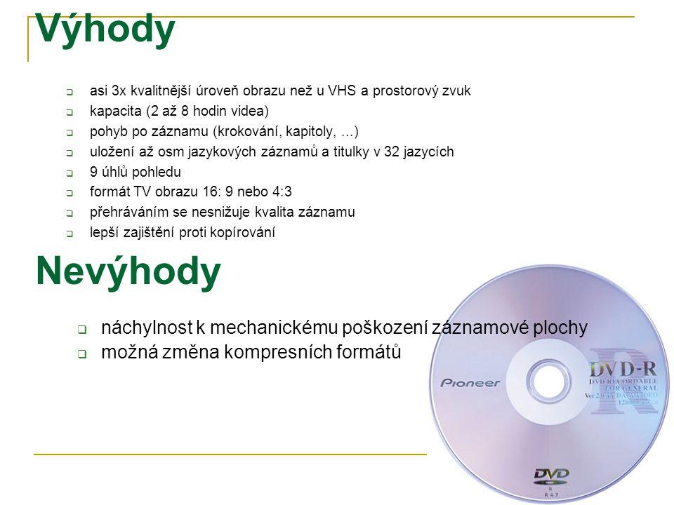 Výhody  asi 3x kvalitnější úroveň obrazu než u VHS a prostorový zvuk  kapacita (2 až 8 hodin videa)  pohyb po záznamu (krokování, kapitoly,...)  uložení až osm jazykových záznamů a titulky v 32 jazycích  9 úhlů pohledu  formát TV obrazu 16: 9 nebo 4:3  přehráváním se nesnižuje kvalita záznamu  lepší zajištění proti kopírování Nevýhody  náchylnost k mechanickému poškození záznamové plochy  možná změna kompresních formátů