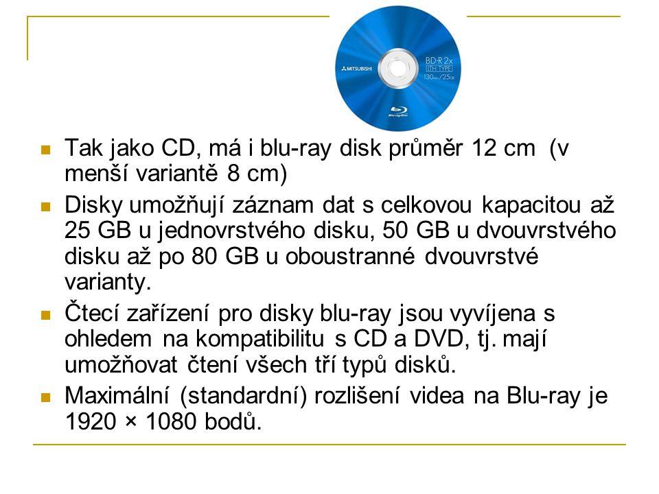Tak jako CD, má i blu-ray disk průměr 12 cm (v menší variantě 8 cm) Disky umožňují záznam dat s celkovou kapacitou až 25 GB u jednovrstvého disku, 50 GB u dvouvrstvého disku až po 80 GB u oboustranné dvouvrstvé varianty.