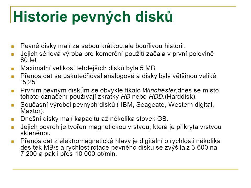 Základní struktura pevného disku Mechanika HD (Hard Drive – pevný disk) se skládá z tuhých kovových disků tzv.