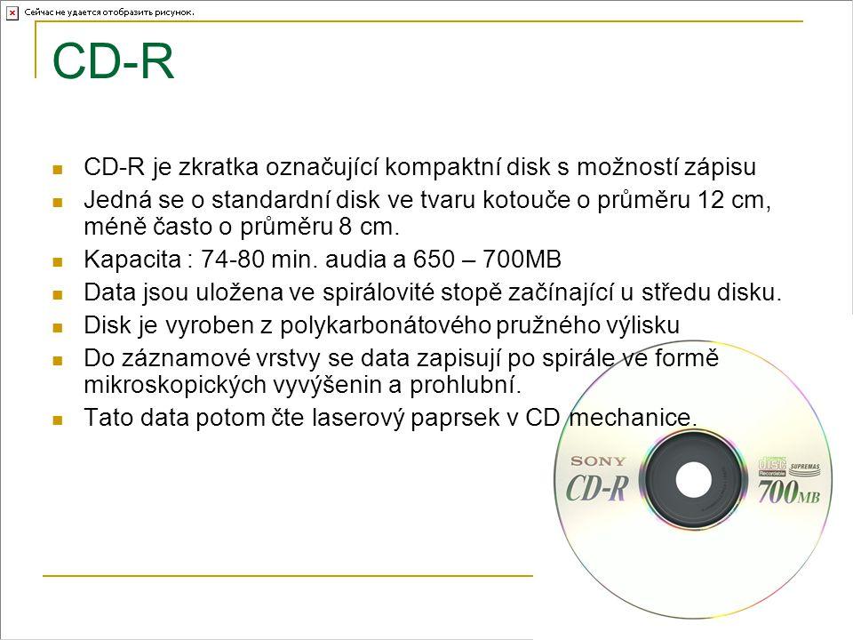 CD-R CD-R je zkratka označující kompaktní disk s možností zápisu Jedná se o standardní disk ve tvaru kotouče o průměru 12 cm, méně často o průměru 8 cm.
