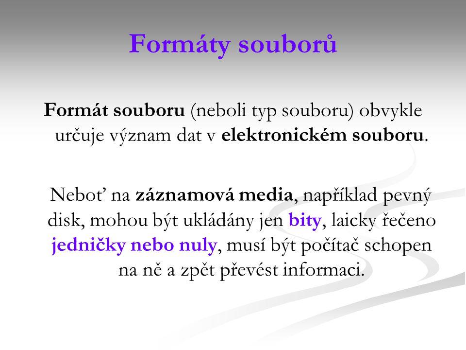 Formáty souborů Formát souboru (neboli typ souboru) obvykle určuje význam dat v elektronickém souboru.