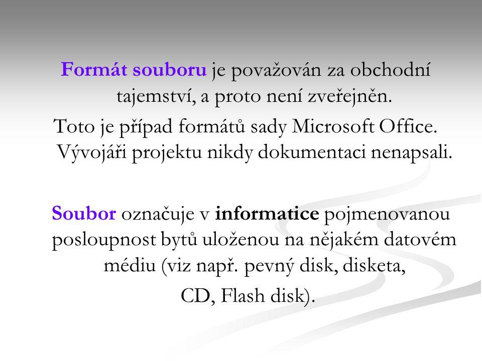 Formát souboru je považován za obchodní tajemství, a proto není zveřejněn.