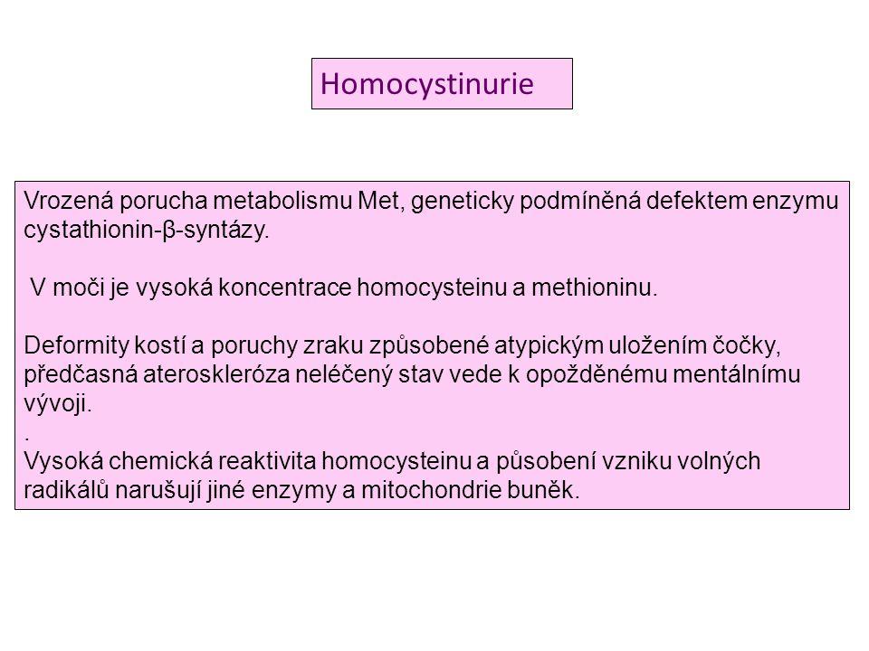 Homocystinurie Vrozená porucha metabolismu Met, geneticky podmíněná defektem enzymu cystathionin-β-syntázy. V moči je vysoká koncentrace homocysteinu