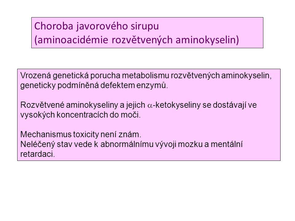 Choroba javorového sirupu (aminoacidémie rozvětvených aminokyselin) Vrozená genetická porucha metabolismu rozvětvených aminokyselin, geneticky podmíně