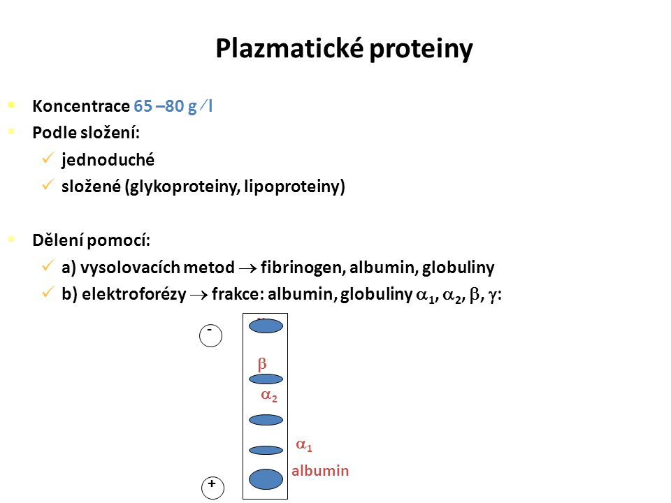  Koncentrace 65 –80 g  l  Podle složení: jednoduché složené (glykoproteiny, lipoproteiny)  Dělení pomocí: a) vysolovacích metod  fibrinogen, albu