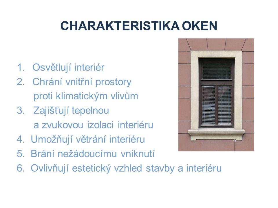 CHARAKTERISTIKA OKEN 1.Osvětlují interiér 2.Chrání vnitřní prostory proti klimatickým vlivům 3. Zajišťují tepelnou a zvukovou izolaci interiéru 4. Umo