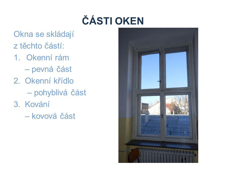 ČÁSTI OKEN Okna se skládají z těchto částí: 1.Okenní rám – pevná část 2. Okenní křídlo – pohyblivá část 3. Kování – kovová část