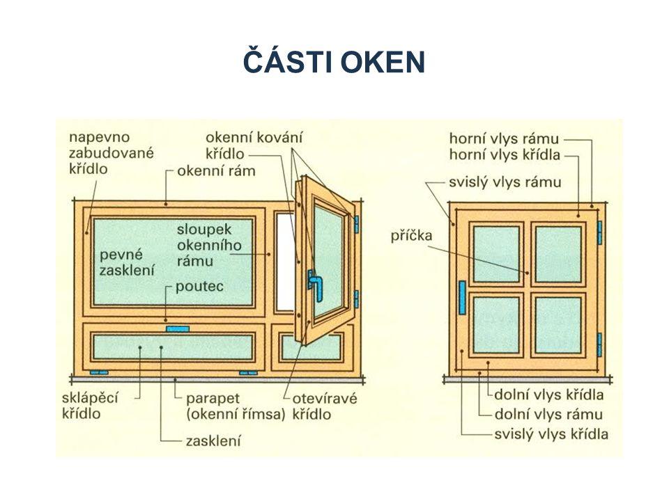 1.Okenní rám tvoří: 1.1. Svislé vlysy 1.2. Horní vodorovné vlysy 1.3.