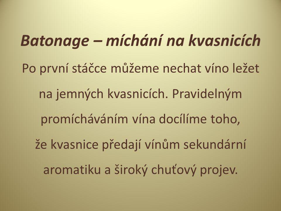 Batonage – míchání na kvasnicích Po první stáčce můžeme nechat víno ležet na jemných kvasnicích.