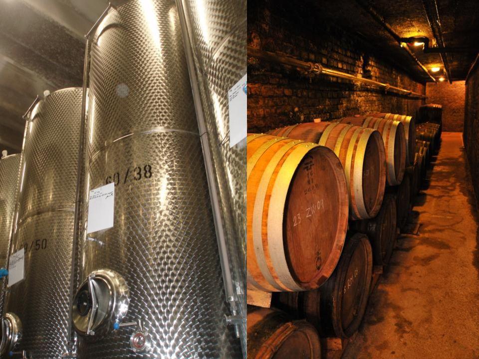 Zrání vína V této fázi se dotváří chuť a aroma vína Průběh zrání je ovlivňován vlivem kyslíku, tedy mikrooxidací – pozvolné okysličování umožňují sudy.