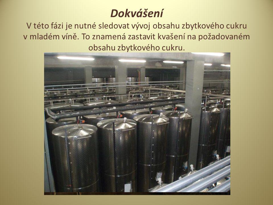 Dokvášení V této fázi je nutné sledovat vývoj obsahu zbytkového cukru v mladém víně.