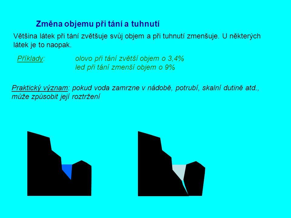 Změna objemu při tání a tuhnutí Většina látek při tání zvětšuje svůj objem a při tuhnutí zmenšuje. U některých látek je to naopak. Příklady: olovo při