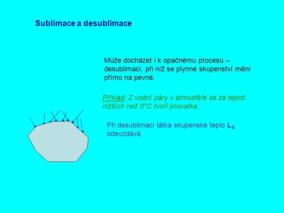 Sublimace a desublimace Může docházet i k opačnému procesu – desublimaci, při níž se plynné skupenství mění přímo na pevné. Příklad: Z vodní páry v at