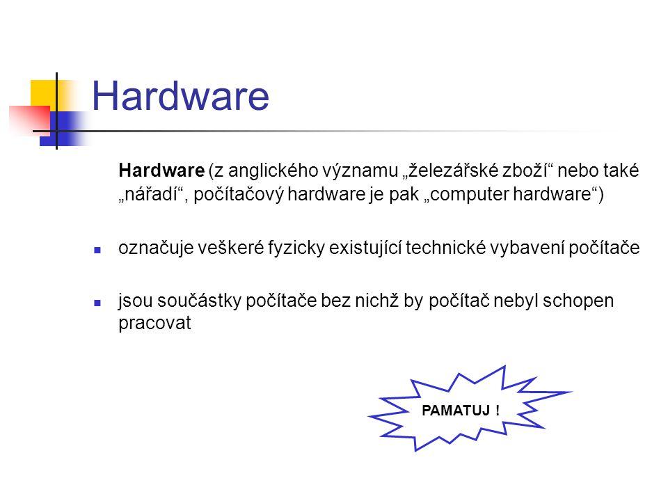"""Hardware Hardware (z anglického významu """"železářské zboží"""" nebo také """"nářadí"""", počítačový hardware je pak """"computer hardware"""") označuje veškeré fyzick"""
