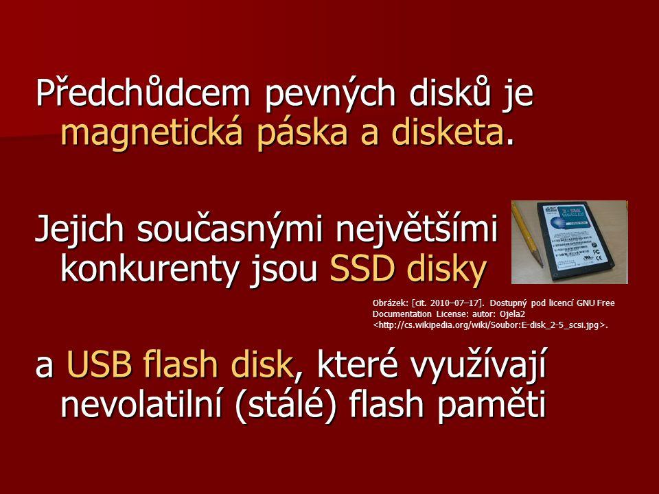 Předchůdcem pevných disků je magnetická páska a disketa. Jejich současnými největšími konkurenty jsou SSD disky a USB flash disk, které využívají nevo