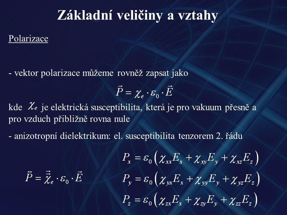 Základní veličiny a vztahy Polarizace - vektor polarizace můžeme rovněž zapsat jako kde je elektrická susceptibilita, která je pro vakuum přesně a pro vzduch přibližně rovna nule - anizotropní dielektrikum: el.