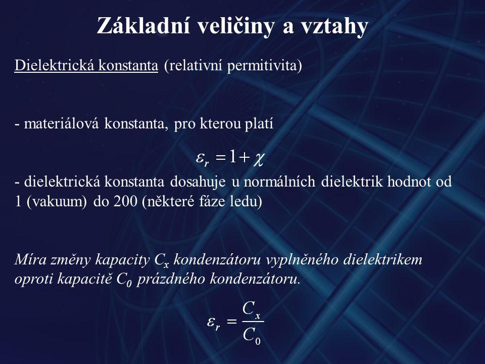 Základní veličiny a vztahy Dielektrická konstanta (relativní permitivita) - materiálová konstanta, pro kterou platí - dielektrická konstanta dosahuje u normálních dielektrik hodnot od 1 (vakuum) do 200 (některé fáze ledu) Míra změny kapacity C x kondenzátoru vyplněného dielektrikem oproti kapacitě C 0 prázdného kondenzátoru.