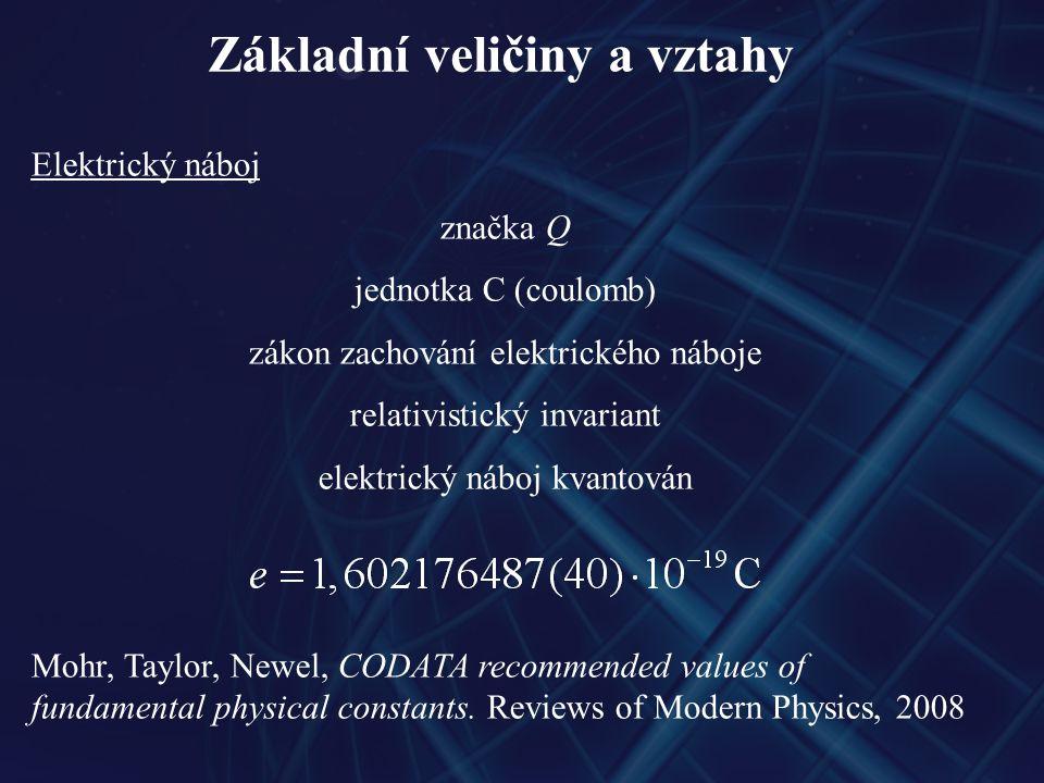 Základní veličiny a vztahy Elektrický náboj značka Q jednotka C (coulomb) zákon zachování elektrického náboje relativistický invariant elektrický náboj kvantován Mohr, Taylor, Newel, CODATA recommended values of fundamental physical constants.