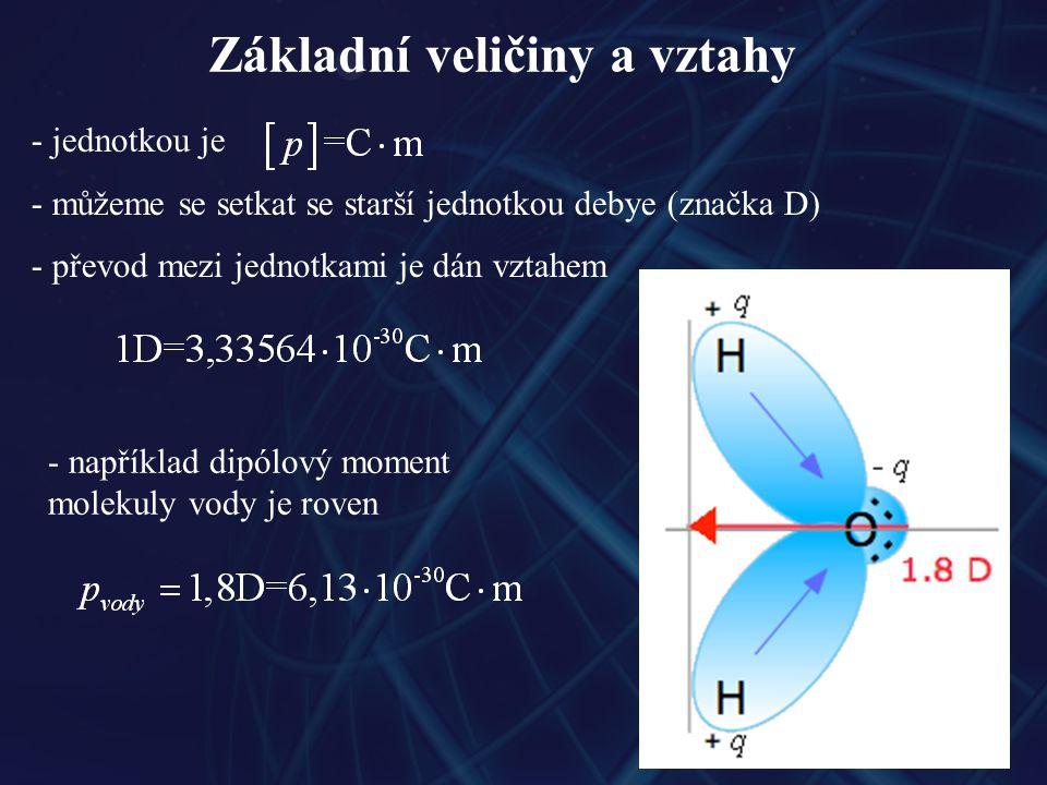 Základní veličiny a vztahy - jednotkou je - můžeme se setkat se starší jednotkou debye (značka D) - převod mezi jednotkami je dán vztahem - například dipólový moment molekuly vody je roven