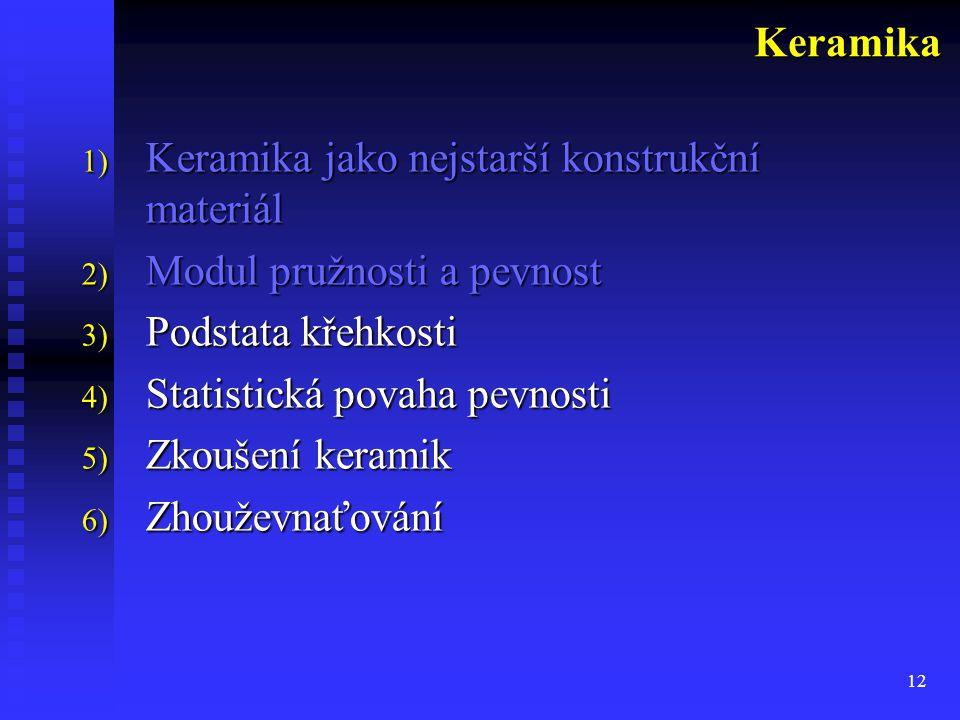 12 1) Keramika jako nejstarší konstrukční materiál 2) Modul pružnosti a pevnost 3) Podstata křehkosti 4) Statistická povaha pevnosti 5) Zkoušení keramik 6) Zhouževnaťování Keramika