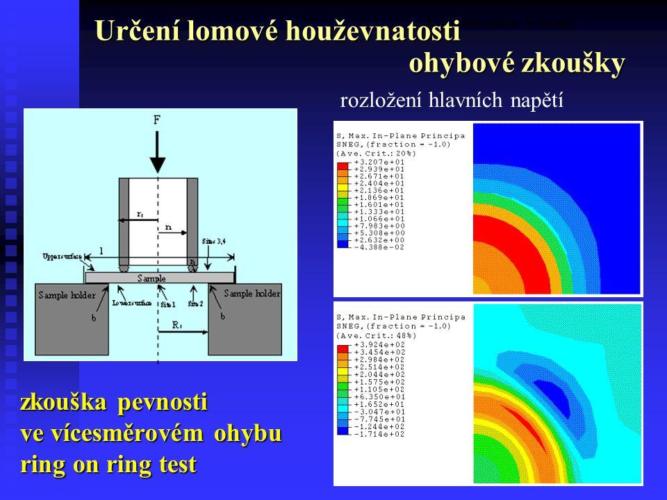 39 Experimentální techniky zkouška pevnosti ve vícesměrovém ohybu ring on ring test rozložení hlavních napětí Určení lomové houževnatosti ohybové zkoušky