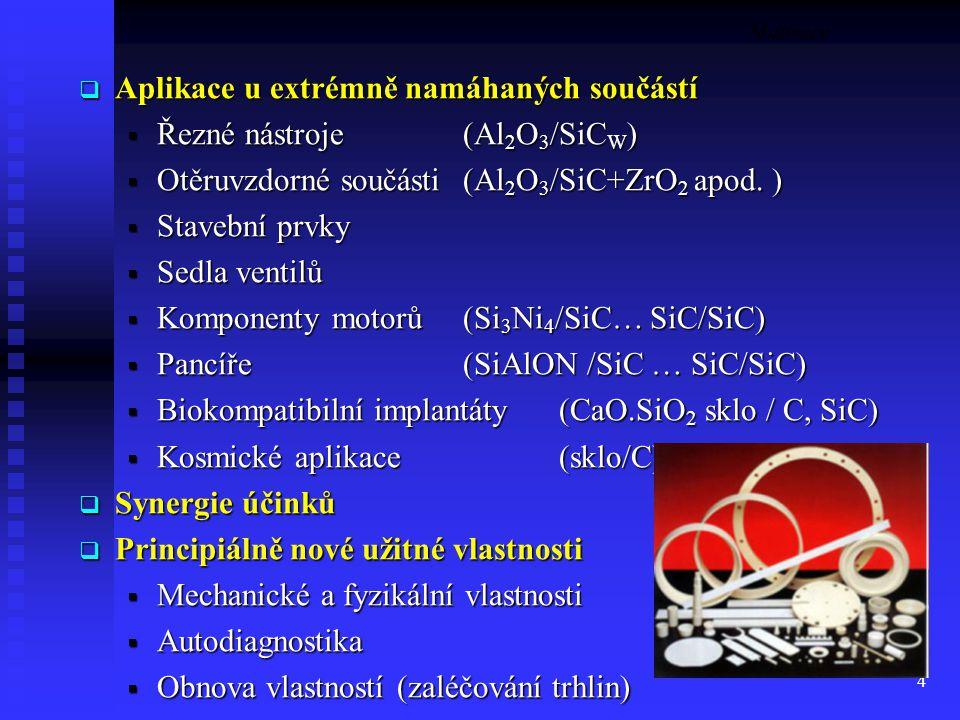 4 Motivace  Aplikace u extrémně namáhaných součástí  Řezné nástroje (Al 2 O 3 /SiC W )  Otěruvzdorné součásti (Al 2 O 3 /SiC+ZrO 2 apod. )  Staveb