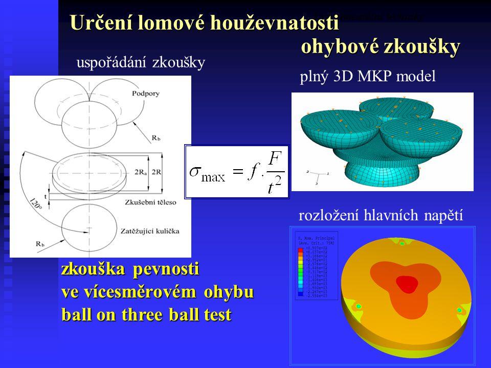 40 uspořádání zkoušky plný 3D MKP model rozložení hlavních napětí zkouška pevnosti ve vícesměrovém ohybu ball on three ball test Experimentální techniky Určení lomové houževnatosti ohybové zkoušky