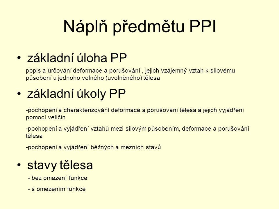 Náplň předmětu PPI základní úloha PP základní úkoly PP stavy tělesa popis a určování deformace a porušování, jejich vzájemný vztah k silovému působení