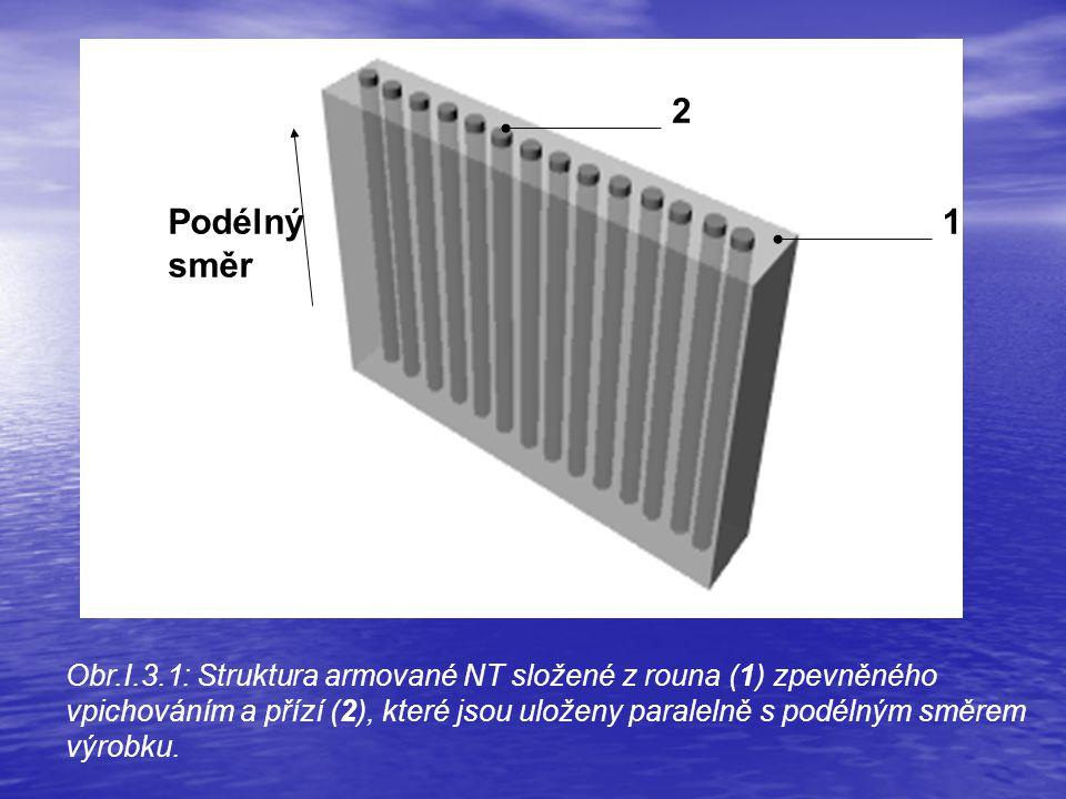 2 1Podélný směr Obr.I.3.1: Struktura armované NT složené z rouna (1) zpevněného vpichováním a přízí (2), které jsou uloženy paralelně s podélným směrem výrobku.