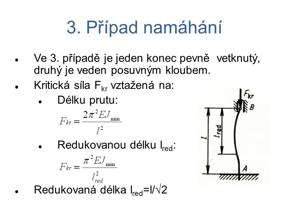 3. Případ namáhání Ve 3. případě je jeden konec pevně vetknutý, druhý je veden posuvným kloubem. Kritická síla F kr vztažená na: Délku prutu: Redukova