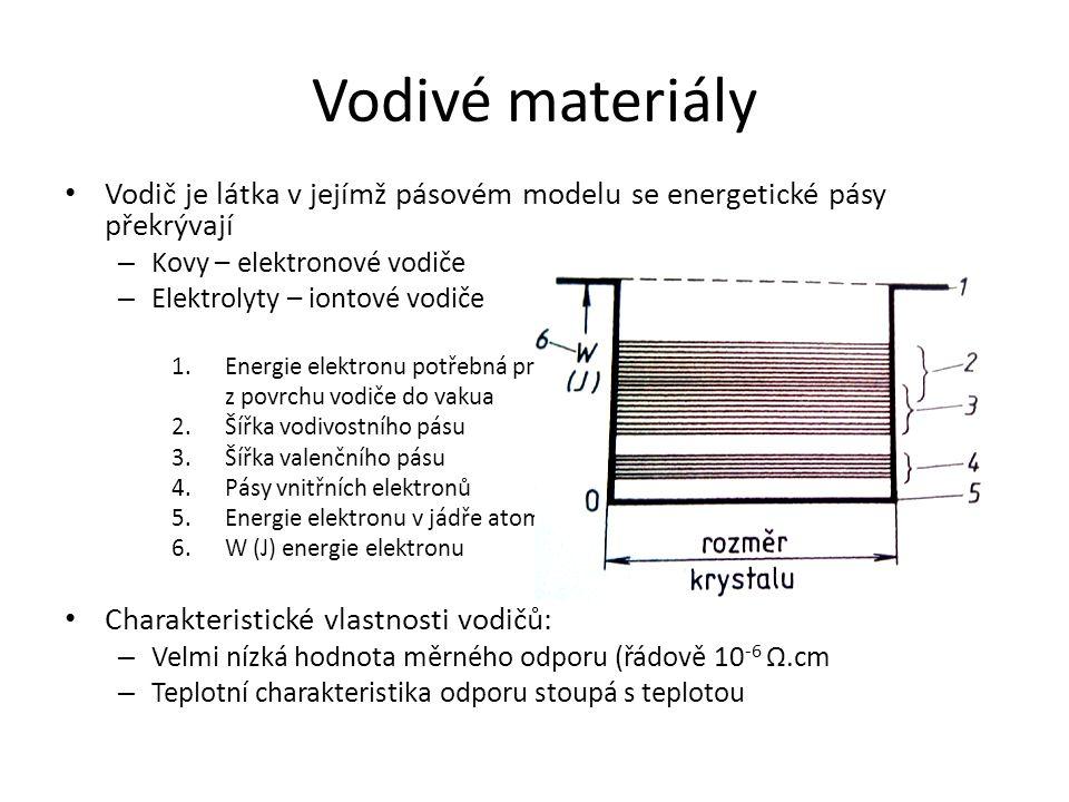 Vodivé materiály Vodič je látka v jejímž pásovém modelu se energetické pásy překrývají – Kovy – elektronové vodiče – Elektrolyty – iontové vodiče 1.En