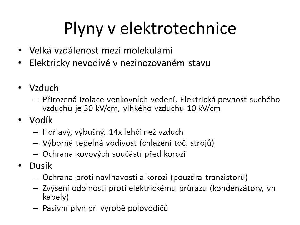 Plyny v elektrotechnice Velká vzdálenost mezi molekulami Elektricky nevodivé v nezinozovaném stavu Vzduch – Přirozená izolace venkovních vedení. Elekt