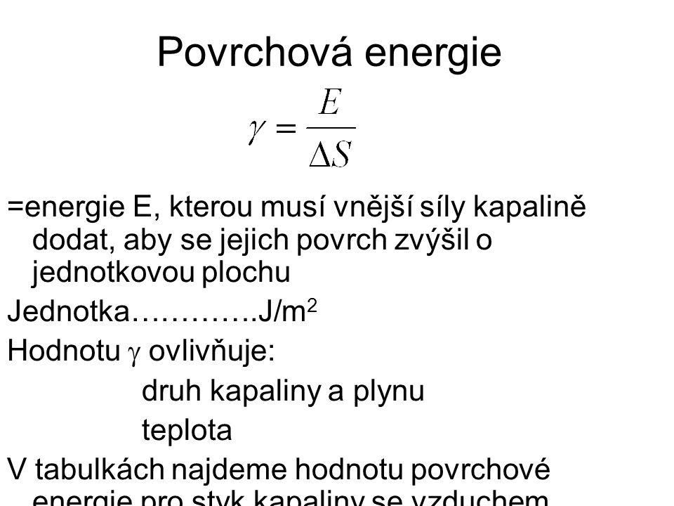 Povrchová energie =energie E, kterou musí vnější síly kapalině dodat, aby se jejich povrch zvýšil o jednotkovou plochu Jednotka………….J/m 2 Hodnotu  ovlivňuje: druh kapaliny a plynu teplota V tabulkách najdeme hodnotu povrchové energie pro styk kapaliny se vzduchem