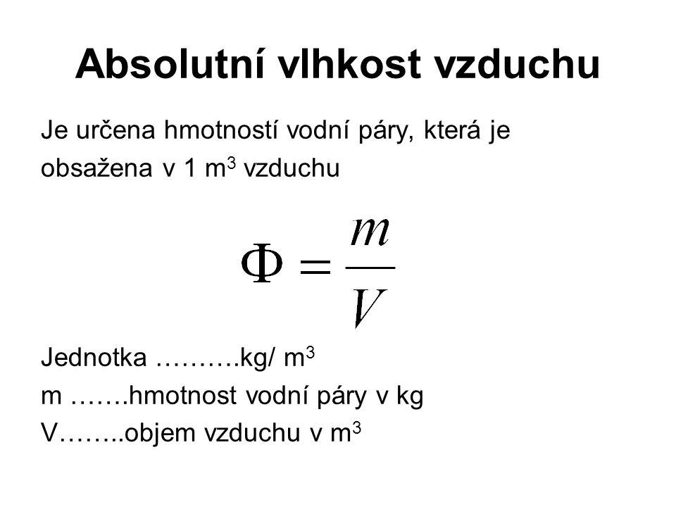 Absolutní vlhkost vzduchu Je určena hmotností vodní páry, která je obsažena v 1 m 3 vzduchu Jednotka ……….kg/ m 3 m …….hmotnost vodní páry v kg V……..objem vzduchu v m 3