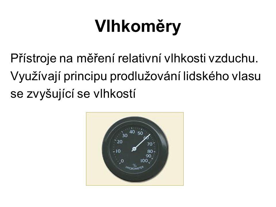 Vlhkoměry Přístroje na měření relativní vlhkosti vzduchu.