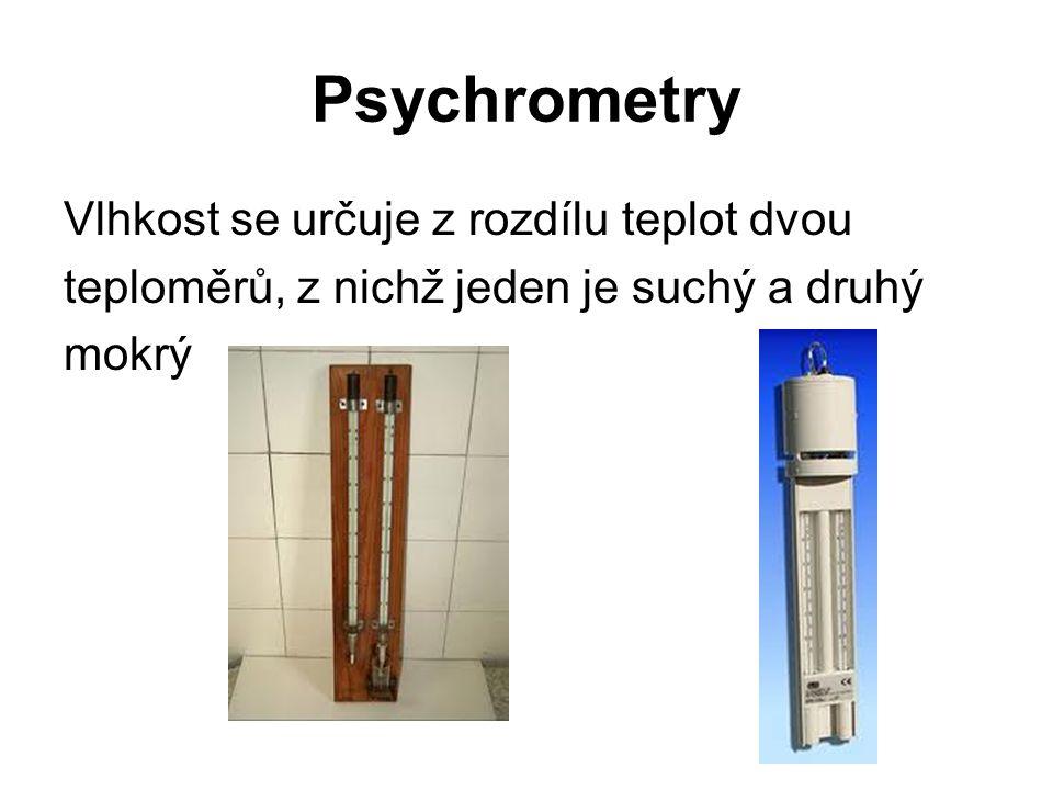 Psychrometry Vlhkost se určuje z rozdílu teplot dvou teploměrů, z nichž jeden je suchý a druhý mokrý
