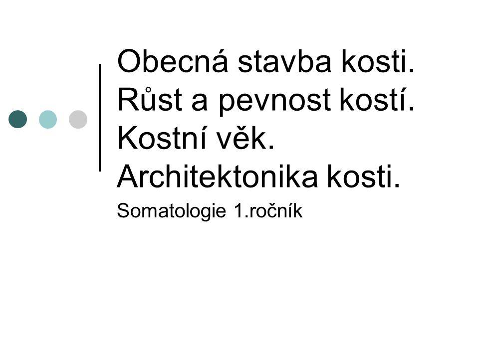 Obecná stavba kosti. Růst a pevnost kostí. Kostní věk. Architektonika kosti. Somatologie 1.ročník