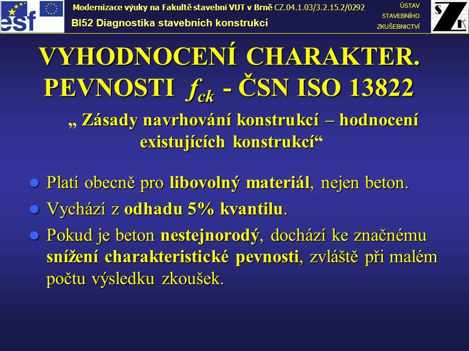 VYHODNOCENÍ CHARAKTER. PEVNOSTI f ck - ČSN ISO 13822 BI52 Diagnostika stavebních konstrukcí ÚSTAV STAVEBNÍHO ZKUŠEBNICTVÍ Modernizace výuky na Fakultě