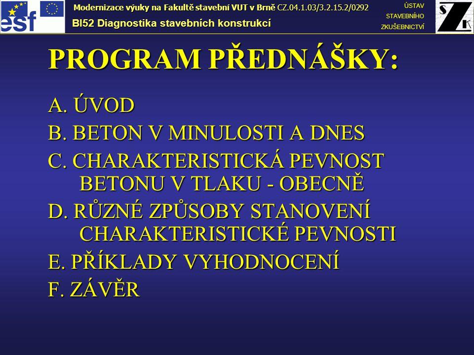 PROGRAM PŘEDNÁŠKY: A.ÚVOD B. BETON V MINULOSTI A DNES C.
